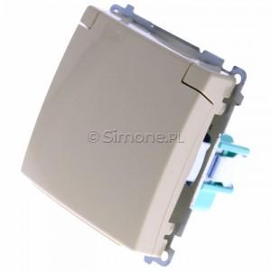 Simon Basic BMGZ1B.01/12 - Gniazdo pojedyncze hermetyczne z bolcem uziemiającym do wersji IP44 z klapką w kolorze wyrobu - Beżowy - Podgląd zdjęcia 360st. nr 7