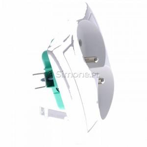 Simon Basic BMGZ2/11 - Gniazdo podwójne z bolcem uziemiającym - Biały - Podgląd zdjęcia 360st. nr 2