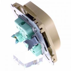 Simon Basic BMGZ2Mz.01/12 - Gniazdo podwójne z bolcem uziemiającym i przesłonami torów prądowych - Beżowy - Podgląd zdjęcia 360st. nr 3