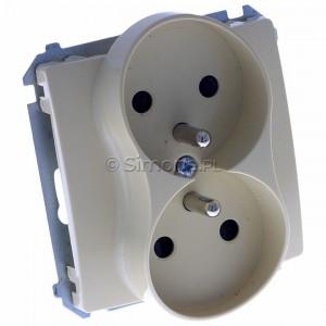 Simon Basic BMGZ2Mz.01/12 - Gniazdo podwójne z bolcem uziemiającym i przesłonami torów prądowych - Beżowy - Podgląd zdjęcia 360st. nr 1