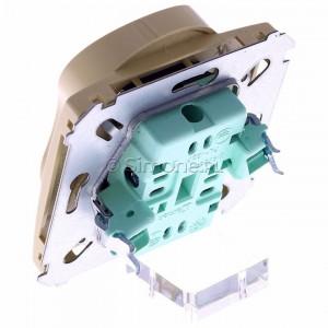 Simon Basic BMGZ2Mz.01/12 - Gniazdo podwójne z bolcem uziemiającym i przesłonami torów prądowych - Beżowy - Podgląd zdjęcia 360st. nr 5