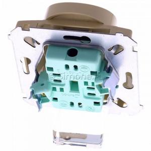 Simon Basic BMGZ2Mz.01/12 - Gniazdo podwójne z bolcem uziemiającym i przesłonami torów prądowych - Beżowy - Podgląd zdjęcia 360st. nr 4