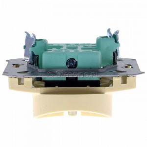 Simon Basic BMGZ2Mz.01/12 - Gniazdo podwójne z bolcem uziemiającym i przesłonami torów prądowych - Beżowy - Podgląd zdjęcia 360st. nr 8