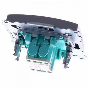 Simon Basic BMW1L.01/21 - Łącznik pojedynczy z podświetleniem typu LED w kolorze niebieskim - Inox Met. - Podgląd zdjęcia 360st. nr 4