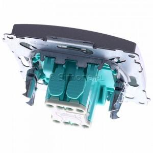Simon Basic BMW7L.01/21 - Łącznik krzyżowy z podświetleniem typu LED w kolorze niebieskim - Inox Met. - Podgląd zdjęcia 360st. nr 4