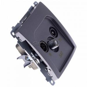 Simon Basic BMZAR-SAT1.3/1.01/21 - Gniazdo antenowe RTV-SAT końcowe lub zakończeniowe w szeregu gniazd przelotowych - Inox Met. - Podgląd zdjęcia 360st. nr 2