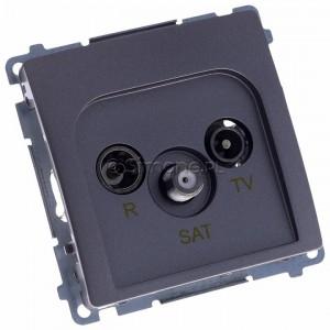 Simon Basic BMZAR-SAT1.3/1.01/21 - Gniazdo antenowe RTV-SAT końcowe lub zakończeniowe w szeregu gniazd przelotowych - Inox Met. - Podgląd zdjęcia 360st. nr 1