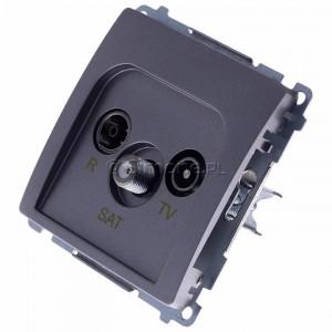 Simon Basic BMZAR-SAT1.3/1.01/21 - Gniazdo antenowe RTV-SAT końcowe lub zakończeniowe w szeregu gniazd przelotowych - Inox Met. - Podgląd zdjęcia 360st. nr 7