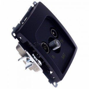Simon Basic BMZAR-SAT1.3/1.01/28 - Gniazdo antenowe RTV-SAT końcowe lub zakończeniowe w szeregu gniazd przelotowych - Grafit Mat. - Podgląd zdjęcia 360st. nr 2