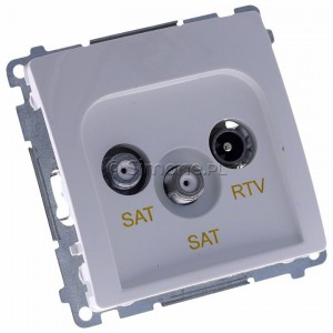 Simon Basic BMZAR+SAT3.1-P2.01/11 - Gniazdo antenowe RTV-SAT-SAT końcowe z dwoma wyjściami SAT - Biały - Podgląd zdjęcia 360st. nr 1