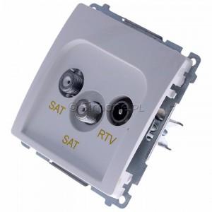 Simon Basic BMZAR+SAT3.1-P2.01/11 - Gniazdo antenowe RTV-SAT-SAT końcowe z dwoma wyjściami SAT - Biały - Podgląd zdjęcia 360st. nr 7