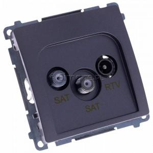 Simon Basic BMZAR+SAT3.1-P2.01/21 - Gniazdo antenowe RTV-SAT-SAT końcowe z dwoma wyjściami SAT - Inox Met. - Podgląd zdjęcia 360st. nr 1
