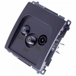Simon Basic BMZAR+SAT3.1-P2.01/21 - Gniazdo antenowe RTV-SAT-SAT końcowe z dwoma wyjściami SAT - Inox Met. - Podgląd zdjęcia 360st. nr 7