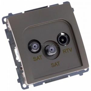 Simon Basic BMZAR+SAT3.1-P2.01/29 - Gniazdo antenowe RTV-SAT-SAT końcowe z dwoma wyjściami SAT - Satynowy Met. - Podgląd zdjęcia 360st. nr 1
