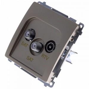 Simon Basic BMZAR+SAT3.1-P2.01/29 - Gniazdo antenowe RTV-SAT-SAT końcowe z dwoma wyjściami SAT - Satynowy Met. - Podgląd zdjęcia 360st. nr 7