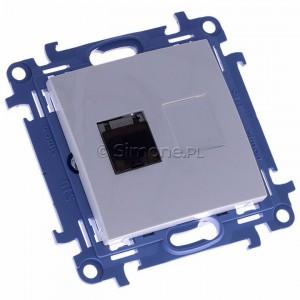 Simon 10 C61E.01/11 - Gniazdo komputerowe pojedyncze RJ45 kat. 6 ekranowane - Biały - Podgląd zdjęcia 360st. nr 1