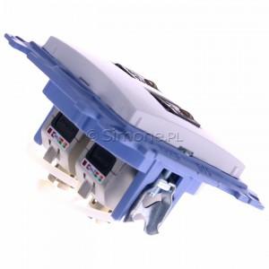 Simon 10 C62E.01/11 - Gniazdo komputerowe podwójne RJ45 kat. 6 ekranowane - Biały - Podgląd zdjęcia 360st. nr 3