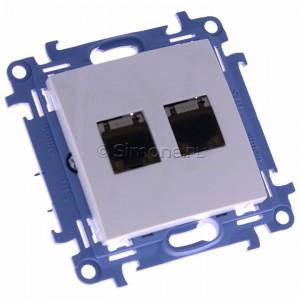 Simon 10 C62E.01/11 - Gniazdo komputerowe podwójne RJ45 kat. 6 ekranowane - Biały - Podgląd zdjęcia 360st. nr 1