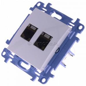 Simon 10 C62E.01/11 - Gniazdo komputerowe podwójne RJ45 kat. 6 ekranowane - Biały - Podgląd zdjęcia 360st. nr 7