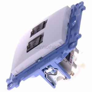 Simon 10 C62E.01/11 - Gniazdo komputerowe podwójne RJ45 kat. 6 ekranowane - Biały - Podgląd zdjęcia 360st. nr 6