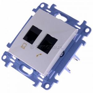 Simon 10 C6T.01/11 - Gniazdo komputerowe RJ45 kategoria kat. 6e + gniazdo telefoniczne RJ12 - Biały - Podgląd zdjęcia 360st. nr 7