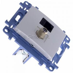 Simon 10 CASFRJ455.01/11 - Gniazdo antenowe SAT pojedyncze + Gniazdo komputerowe kat.6 - Biały - Podgląd zdjęcia 360st. nr 2