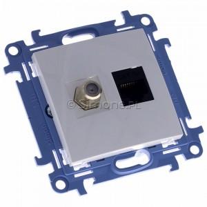 Simon 10 CASFRJ455.01/11 - Gniazdo antenowe SAT pojedyncze + Gniazdo komputerowe kat.6 - Biały - Podgląd zdjęcia 360st. nr 1