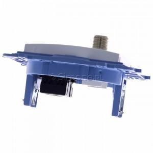 Simon 10 CASFRJ455.01/11 - Gniazdo antenowe SAT pojedyncze + Gniazdo komputerowe kat.6 - Biały - Podgląd zdjęcia 360st. nr 4