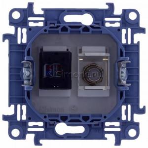 Simon 10 CASFRJ455.01/11 - Gniazdo antenowe SAT pojedyncze + Gniazdo komputerowe kat.6 - Biały - Podgląd zdjęcia 360st. nr 9