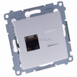 Simon 54 D61E.01/11 - Gniazdo komputerowe pojedyncze RJ45 kat. 6 ekranowane z przesłoną przeciwkurzową - Biały - Podgląd zdjęcia 360st. nr 1