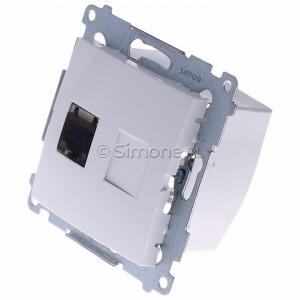 Simon 54 D61E.01/11 - Gniazdo komputerowe pojedyncze RJ45 kat. 6 ekranowane z przesłoną przeciwkurzową - Biały - Podgląd zdjęcia 360st. nr 7