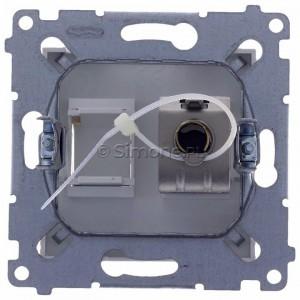 Simon 54 D61E.01/11 - Gniazdo komputerowe pojedyncze RJ45 kat. 6 ekranowane z przesłoną przeciwkurzową - Biały - Podgląd zdjęcia 360st. nr 9