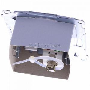 Simon 54 D61E.01/43 - Gniazdo komputerowe pojedyncze RJ45 kat. 6 ekranowane z przesłoną przeciwkurzową - Srebrny Mat - Podgląd zdjęcia 360st. nr 4