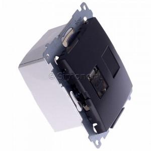 Simon 54 D61E.01/48 - Gniazdo komputerowe pojedyncze RJ45 kat. 6 ekranowane z przesłoną przeciwkurzową - Antracyt - Podgląd zdjęcia 360st. nr 2