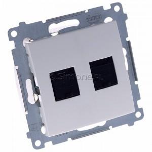 Simon 54 D62.01/11 - Gniazdo komputerowe podwójne 2xRJ45 kat. 6 z przesłoną przeciwkurzową - Biały - Podgląd zdjęcia 360st. nr 1