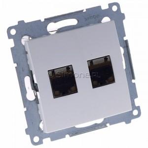 Simon 54 D62E.01/11 - Gniazdo komputerowe podwójne 2xRJ45 kat. 6 ekranowane z przesłoną przeciwkurzową - Biały - Podgląd zdjęcia 360st. nr 1