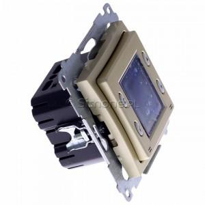 Simon 54 D75817.01/44 - Termostat elektroniczny z programatorem tygodniowym, wyświetlaczem LCD i wewnętrznym czujnikiem temperatury - Złoty Mat - Podgląd zdjęcia 360st. nr 2
