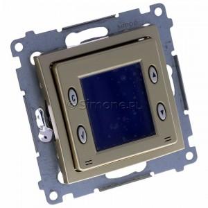 Simon 54 D75817.01/44 - Termostat elektroniczny z programatorem tygodniowym, wyświetlaczem LCD i wewnętrznym czujnikiem temperatury - Złoty Mat - Podgląd zdjęcia 360st. nr 1
