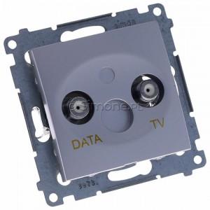 Simon 54 DAD1.01/43 - Gniazdo TV-DATA (pod internet kablowy) - Srebrny Mat - Podgląd zdjęcia 360st. nr 1