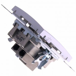 Simon 54 DAK.01/43 - Gniazdo antenowe R-TV końcowe separowane - Srebrny Mat - Podgląd zdjęcia 360st. nr 3