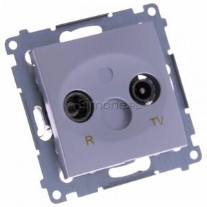 Simon 54 DAK.01/43 - Gniazdo antenowe R-TV końcowe separowane - Srebrny Mat - Podgląd zdjęcia 360st. nr 1