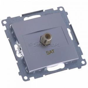 Simon 54 DASF1.01/43 - Gniazdo antenowe SAT typu F pojedyncze - Srebrny Mat - Podgląd zdjęcia 360st. nr 1