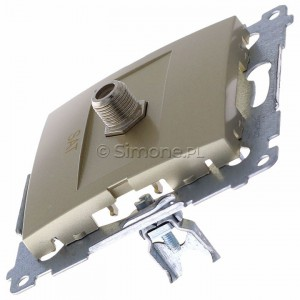 Simon 54 DASF1.01/44 - Gniazdo antenowe SAT typu F pojedyncze - Złoty Mat - Podgląd zdjęcia 360st. nr 6
