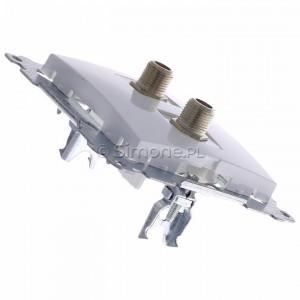 Simon 54 DASF2.01/11 - Gniazdo antenowe SAT typu F podwójne - Biały - Podgląd zdjęcia 360st. nr 3