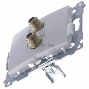 Simon 54 DASF2.01/11 - Gniazdo antenowe SAT typu F podwójne - Biały - Podgląd zdjęcia 360st. nr 6