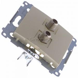 Simon 54 DASF2.01/41 - Gniazdo antenowe SAT typu F podwójne - Kremowy - Podgląd zdjęcia 360st. nr 2