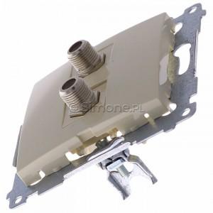 Simon 54 DASF2.01/41 - Gniazdo antenowe SAT typu F podwójne - Kremowy - Podgląd zdjęcia 360st. nr 6