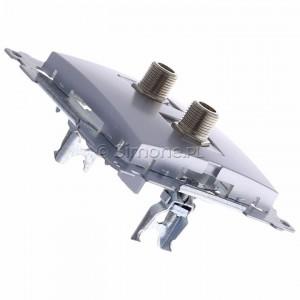 Simon 54 DASF2.01/43 - Gniazdo antenowe SAT typu F podwójne - Srebrny Mat - Podgląd zdjęcia 360st. nr 3