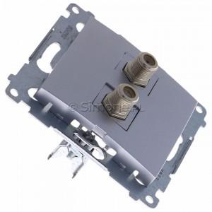 Simon 54 DASF2.01/43 - Gniazdo antenowe SAT typu F podwójne - Srebrny Mat - Podgląd zdjęcia 360st. nr 2