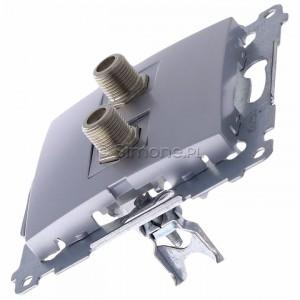 Simon 54 DASF2.01/43 - Gniazdo antenowe SAT typu F podwójne - Srebrny Mat - Podgląd zdjęcia 360st. nr 6